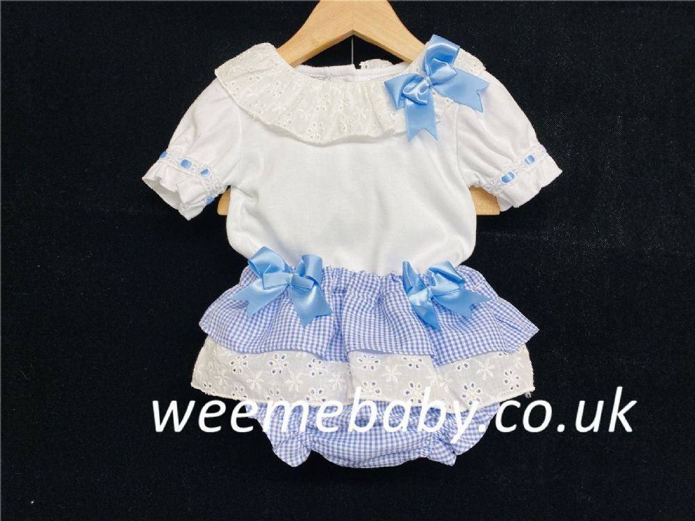 Baby Girl Spanish Blue Gingham Pants with Collar Shirt